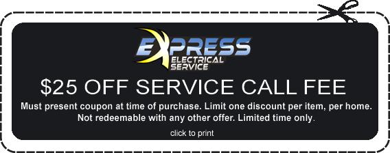 express electric discount, express promo code, electrician discount raleigh, discount electrician raleigh
