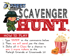 express scavenger hunt, express raleigh, express electrical service