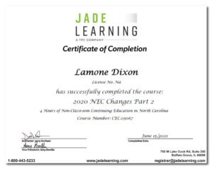 Lamone Dixon - 2020 NEC Changes Certificate